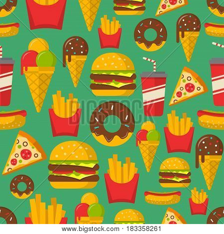 Fast food seamless patterns vector background. EPS10