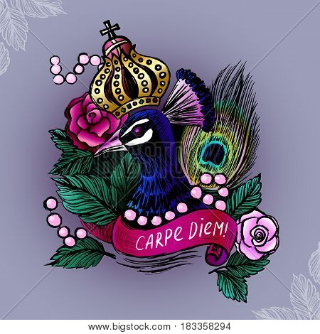 Illustration with crowned peacock in pearls on roses background/Vector illustration with ink hand drawn peacock/Vector peacock/Peacock illustration/Colored ink hand drawn peacock