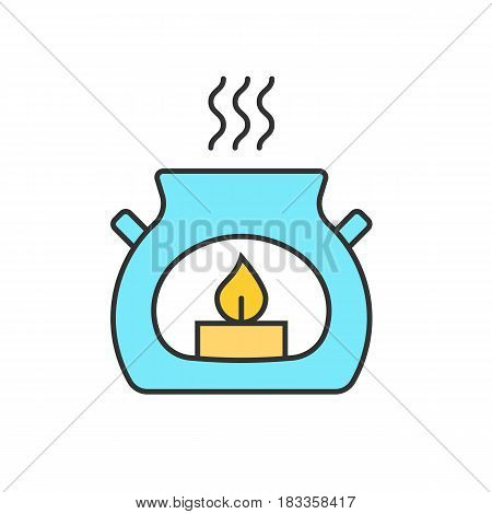 Spa salon aroma candle color icon. Aromatherapy. Isolated vector illustration