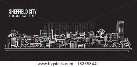 Cityscape Building Line art Vector Illustration design - Sheffield city