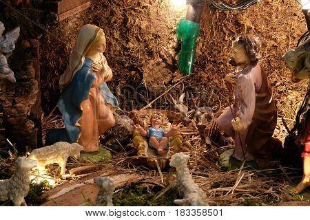 ZAGREB, CROATIA - DECEMBER 28: Nativity Scene, Christmas creche in St. Mary church in Zagreb, Croatia on December 28, 2015.