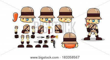 Mini Character nomad girl kit. cowgirl. Cartoon Vector Illustration design