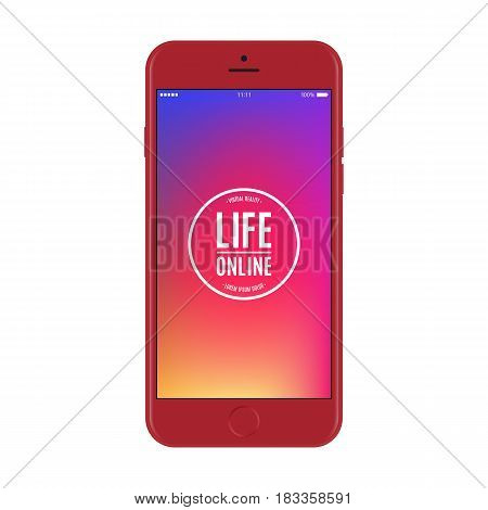smartphone red color with colored screen isolated on white background. stock vector illustration eps10