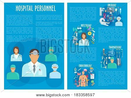 Medical personnel vector brochure. Hospital doctors of oncology, traumatology, endocrinology and infectology medicine. Healthcare medicines x-ray of human spine and foot, wheelchair and mri scan