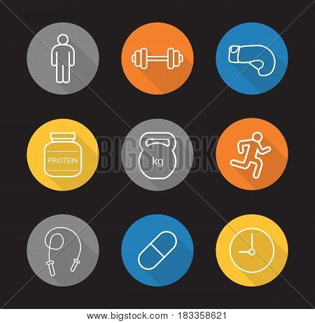 Sport and fitness. Flat linear long shadow icons set. Gym barbell and kettlebell, boxing glove, running man, protein powder, skipping rope, pill, clock. Vector line illustration