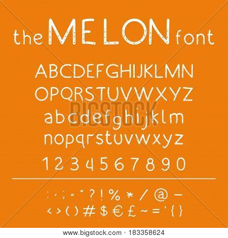 Stylish vector abc. Retro cute hand drawing font - Melon. Unique alphabet with letters in numbers and symbols.