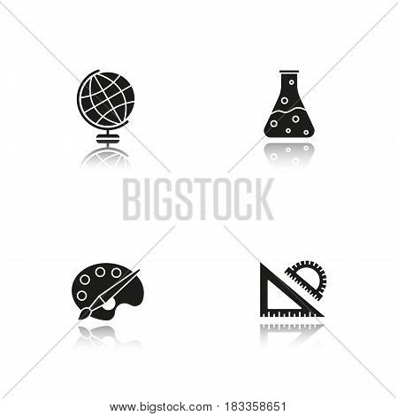 Education drop shadow black icons set. Geography, chemistry, art, geometry symbols. School rulers, chemical reaction, palette with brush, globe. Isolated vector illustrations