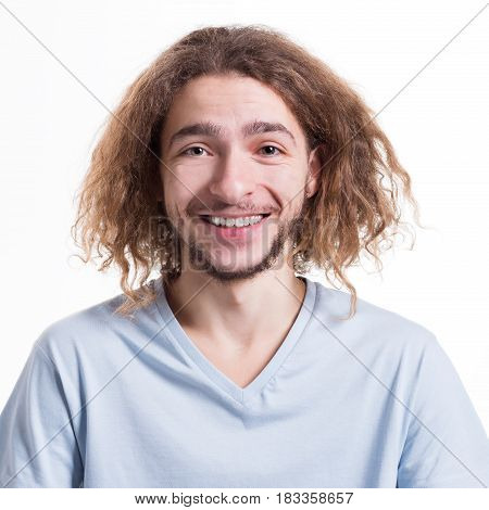 Cheerful person. Man with happy facial expression staring direct to camera on white isolated studio background