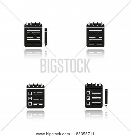 Notepads drop shadow black icons set. Notebooks and to do lists with pencils. Diary. Isolated vector illustrations