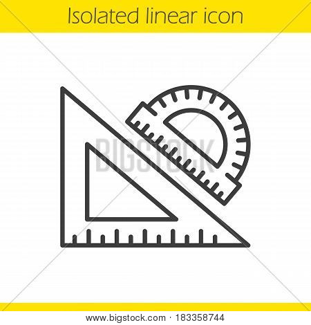 School rulers linear icon. Protractor and transparent. Thin line illustration. Geometry contour symbol. Vector isolated outline drawing
