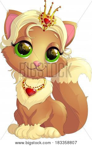 Kitty princess with decorations on a white background