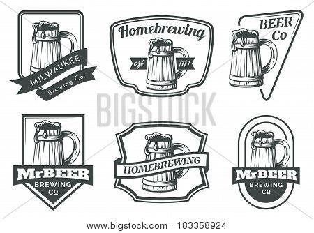 Set of beer mug emblems badges and logo. Vector illustration on white background.