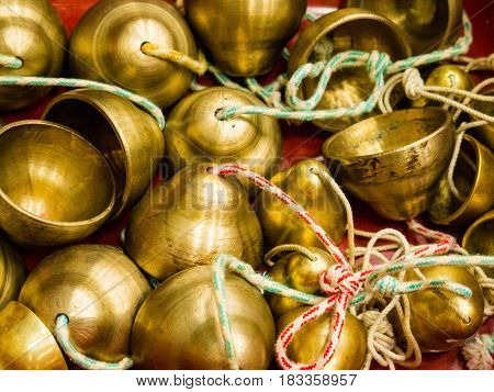close up of a Bucket of bells