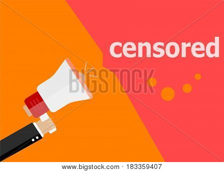 Censored. Hand Holding A Megaphone. Flat Style