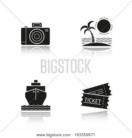 Travel and tourism drop shadow black icons set. Tropical island with palm and sea waves, photo camera, cruise ship, trip tickets. Isolated vector illustrations