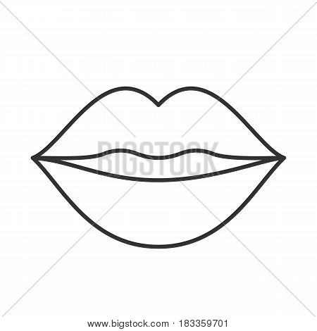 Kiss linear icon. Thin line illustration. Woman's lips contour symbol. Vector isolated outline drawing