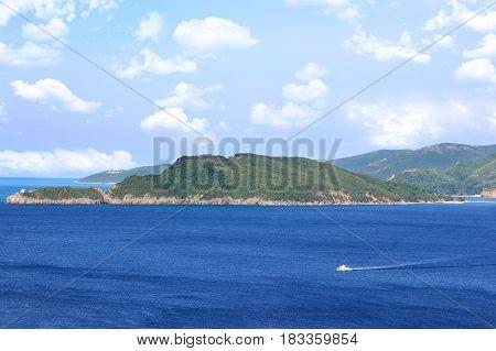 Sveti Stefan island in Budva, Montenegro, Balkans. Sea view. Adriatic sea. Riviera