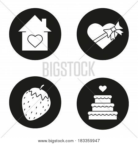 Romantic gifts icons set. House with heart shape, candies box with bow and ribbon, strawberry, wedding cake. Valentines day presents. Vector white silhouettes illustrations in black circles