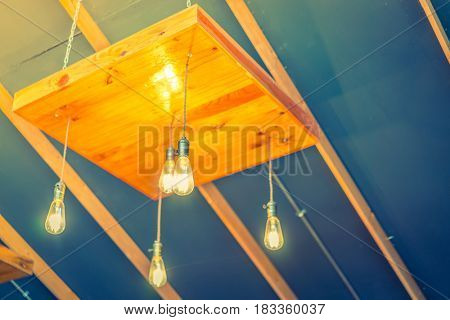 Vintage Lighting decoration modern hotel ( Filtered image processed vintage effect. )