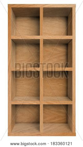 Empty wooden shelf, bookshelf or bookcase isolated on white