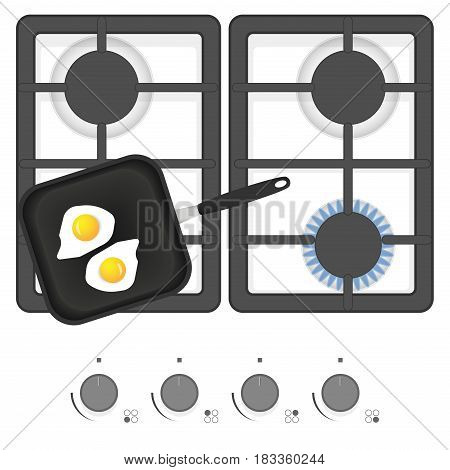 White gas stove with frying pan and fried eggs. Top view vector illustration