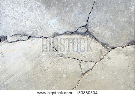 Close up of White Broken Concrete Ground.