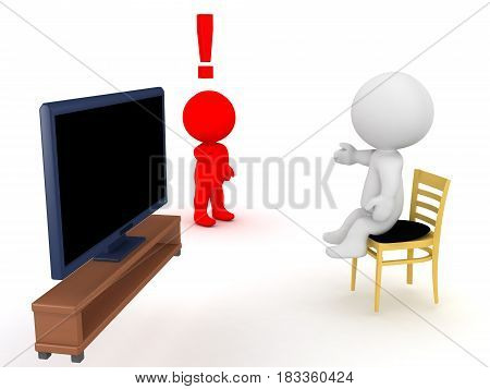 3D Character is angry that his friend is lazy and watches too much tv. Image depicting social conflict.