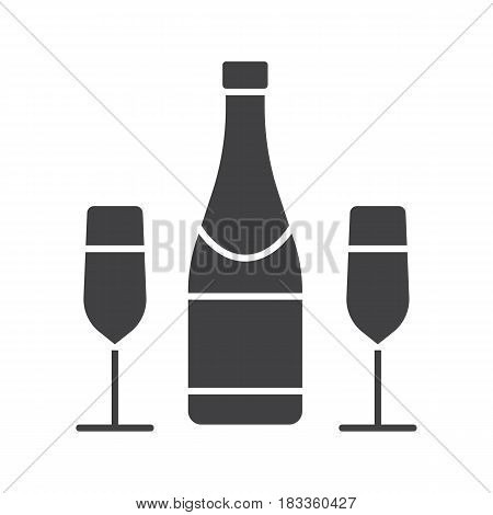 Champagne bottle and glasses glyph icon. Silhouette symbol. Negative space. Vector isolated illustration