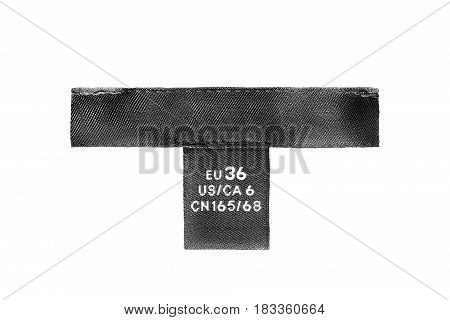 Black clothes label isolated over white background