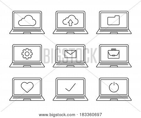 Laptops linear icons set. Laptops with folder, settings, cloud computing, email, tick, heart, briefcase, turn off button. Thin line contour symbols. Isolated vector illustrations