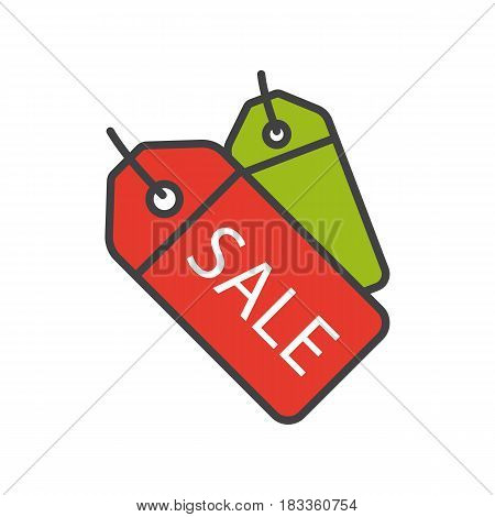 Sale badges color icon. Store price tag. Isolated vector illustration