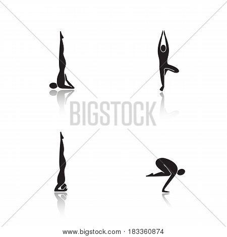 Yoga poses drop shadow black icons set. Sarvangasana, vrikshasana, salamba sirsasana, bakasana yoga positions. Isolated vector illustrations