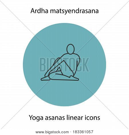 Ardha matsyendrasana yoga position. Linear icon. Thin line illustration. Yoga asana contour symbol. Vector isolated outline drawing