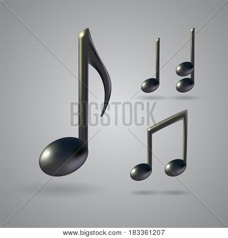 Four music note icons on grey background. 3d realistic vector set created with gradient mesh.