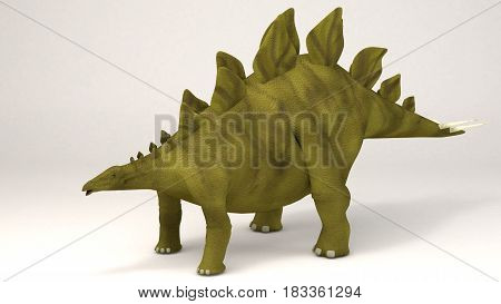 3D Computer rendering illustration of Stegosaurus dinosaur