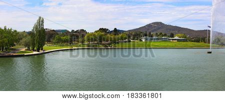 Lake Burley Griffin, Molonglo River Panorama, Canberra, Australia,