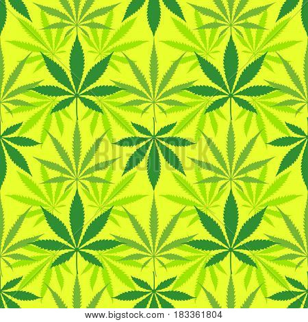 Cannabis Marijuana Leaves Seamless Pattern.