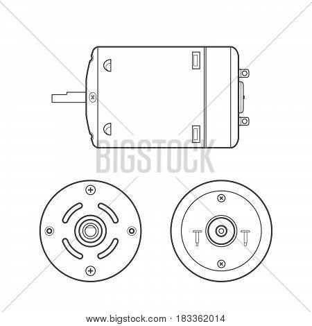 Vector Electric Motor Outline Illustration.