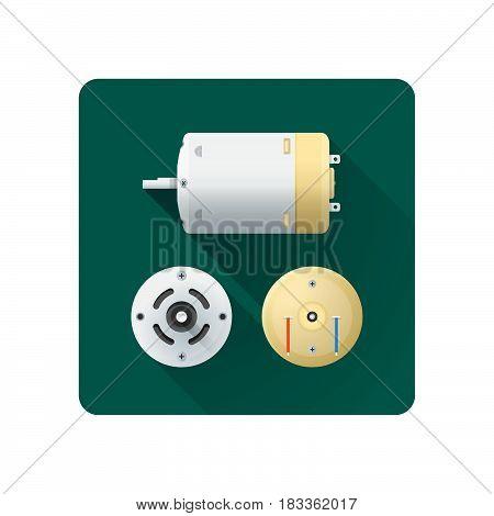 Vector Electric Motor Flat Illustration.