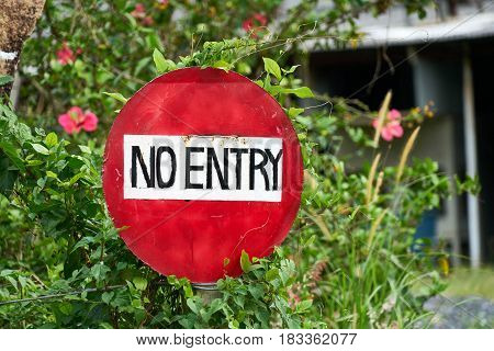 Sign No entry Private Property in Thailand