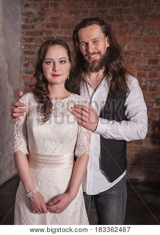 Young Wedding Couple In Retro Style