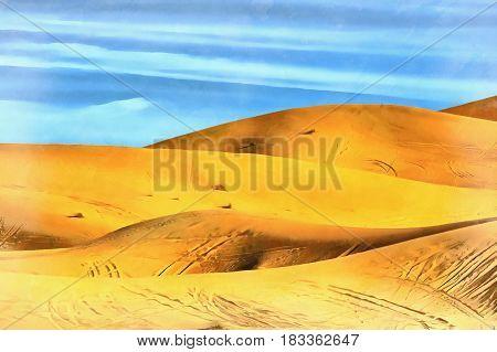 Sand dune colorful painting Sahara desert Morocco