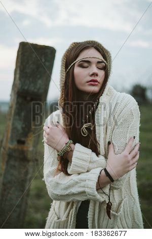 Sensitive portrait of a girl hipster .