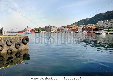 Boats and yachts at Vagen Bay Bergen Norway