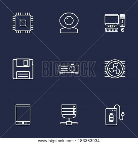 Set Of 9 Notebook Outline Icons Set.Collection Of Floppy, Projector, Tablet And Other Elements.