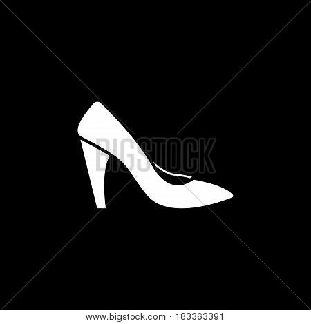 Woman shoes solid icon, shopping, pump shoes vector graphics, a filled pattern on a black background, eps 10.
