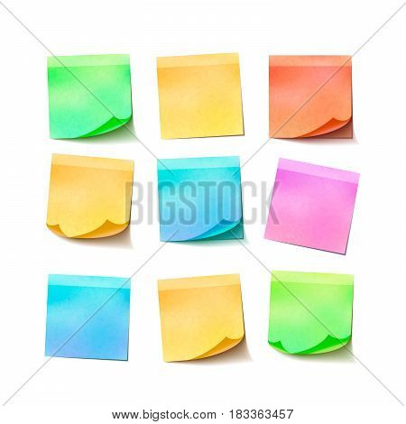 Set of different colorful sticky notes isolated on white background