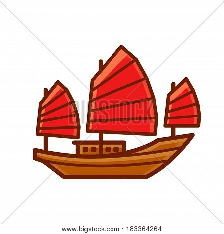 Chinese Junk boat icon with red sails. Simple cartoon style vector ship illustration.