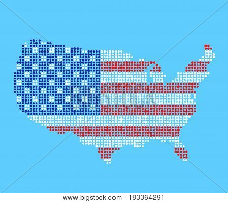 United States of America map vector illustration in USA flag colors. Stylized dotted pattern on blue background.