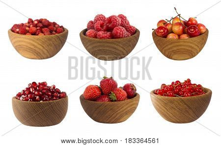 Collage of red fruits and berries isolated on white. Set of strawberries raspberries currants garnets and cherries. Sweet and juicy berry with copy space for text. Ripe berries close-up. Background berry.